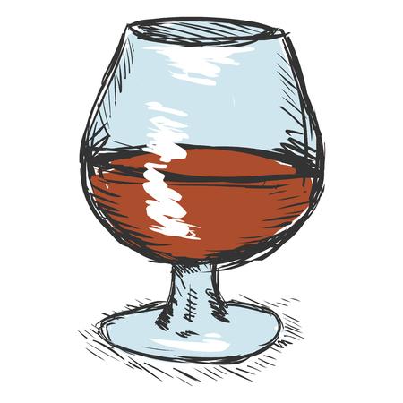 single color: Vector Single Color Sketch Glass of Cognac Illustration