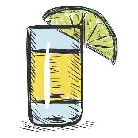 Vector Color Sketch Shot of Tequila with a Lime Illustration