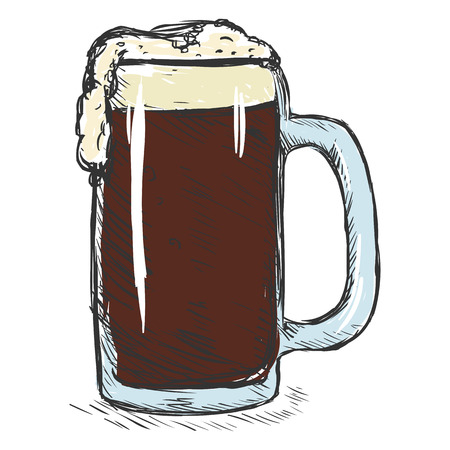 tankard: Vector Single Color Sketch Tankard of Beer