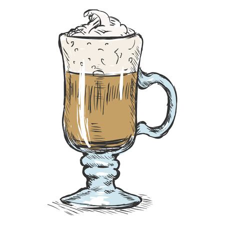 Vector Color Sketch Glass with Irish Coffee