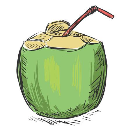 ベクター カラー スケッチ ココナッツ カクテル ストロー