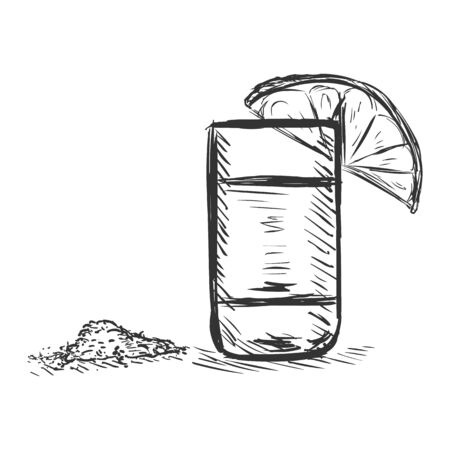 potable: Vector Sketch Shot of Tequila with a Lime and Salt on White Background