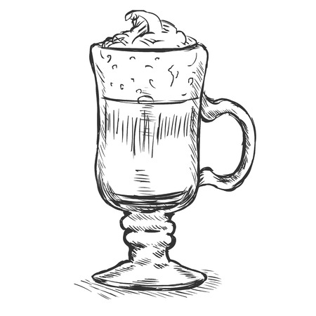 Vector Sketch Glass with Irish Coffee on White Background Illustration