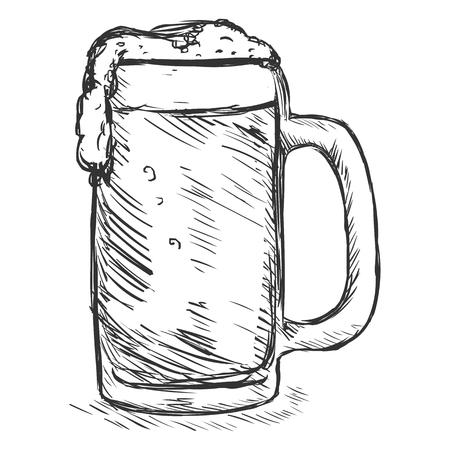 tankard: Vector Sketch Tankard of Beer on White Background Illustration