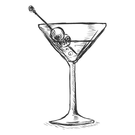 Vector Sketch Martini Glass with Olives on White Background