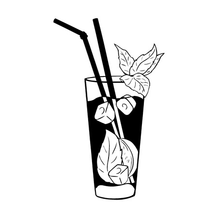 Vector Cocktail Mojito with Mint Leaves and Straws. Black and White Illustration.