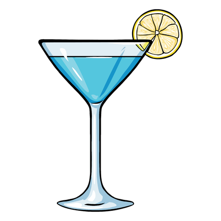 Vector Cartoon Blue Cocktail with Lime on White Background