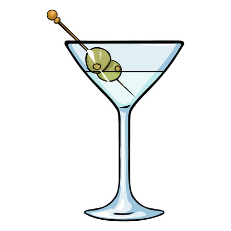Vector Cartoon Martini Glass with Green Olives Illustration