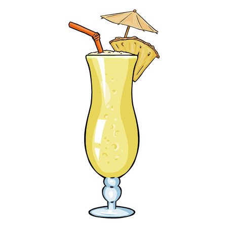 colada: Vector Cartoon Cocktail Pinot Colada with Pineapple, Umbrella and Straw.