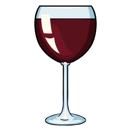 Vector Cartoon Glass of Red Wine on White Background Vetores