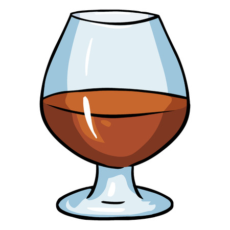 Vector Cartoon Galss of Cognac on White Background