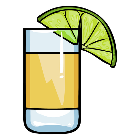 Vector Cartoon Shot of Tequila with a Lime on White Background