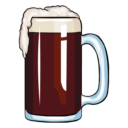 dark beer: Vector Cartoon Tankard of Dark Beer on White Background