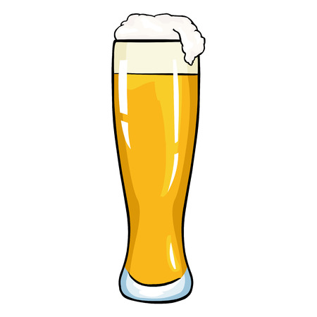 Vector Cartoon Glass of Light Beer on White Background