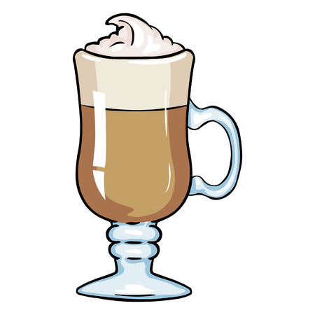 Vector Cartoon Glass with Irish Coffee on White Background Illustration