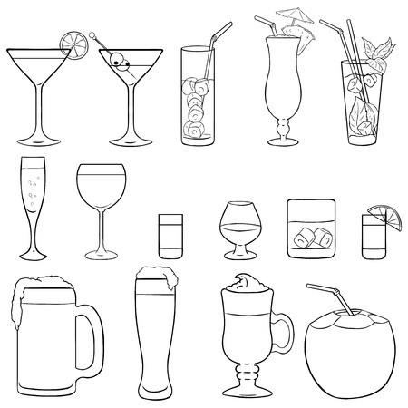 lineart: Vector Set of Lineart Cocktails and Alcohol Drinks on White Background Illustration