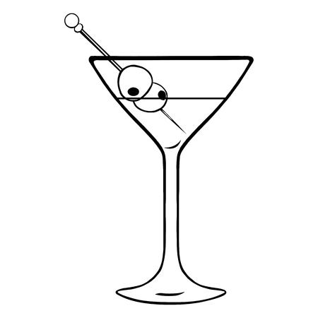 lineart: Vector Lineart Martini Glass with Olives on White Background Illustration