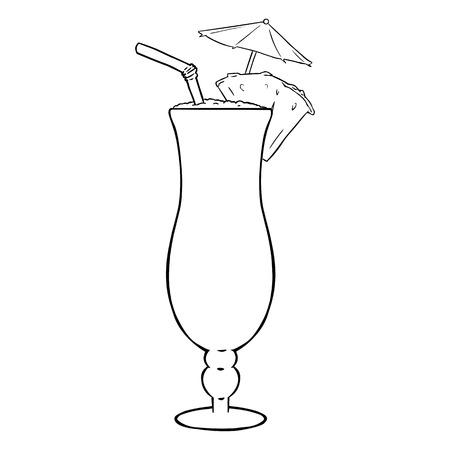 lineart: Vector Lineart Cocktail Pinot Colada with Pineapple, Umbrella and Straw.