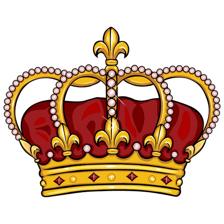 royal background: vector cartoon royal crown on White Background