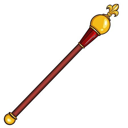 dessin animé vecteur sceptre royal sur fond blanc