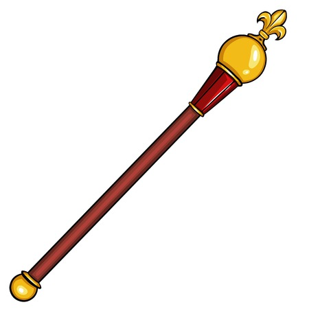 scepter: vector cartoon royal scepter on White Background