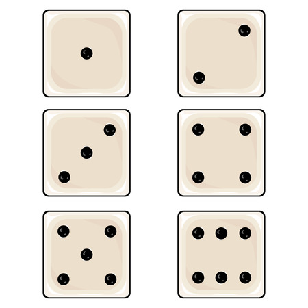 ivories: Vector Set of Cartoon Dices on White Background