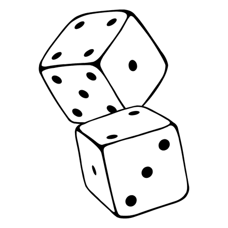 Vector Line Two Dices. Casino Icon on White Background