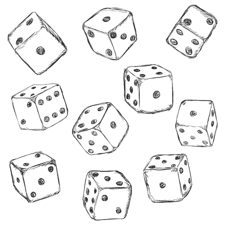 ivories: Vector Set of Sketch Dices on White Background