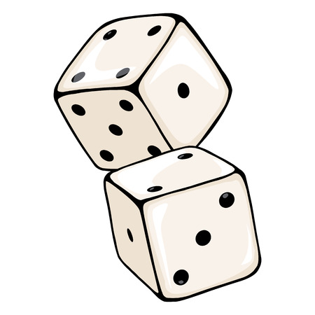 Vector Cartoon Two Dices. Casino Icon on White Background Illustration