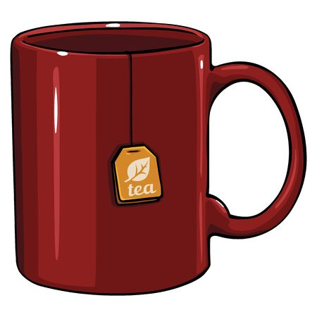 char: vector cartoon mug with tea bag on White Background Illustration