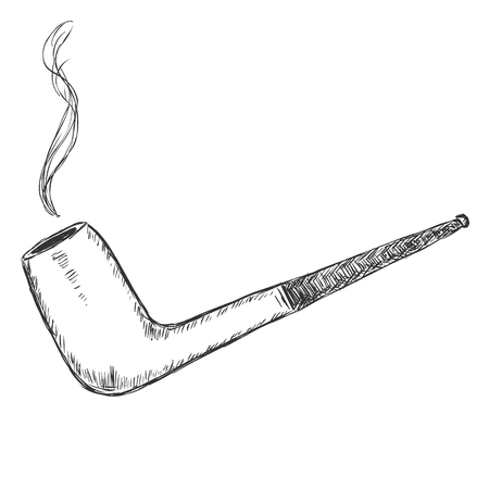 manners: Vector Single Sketch Tobacco Pipe - Chimney.