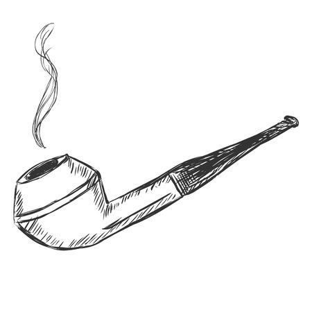 tobacco: Vector Single Sketch Tobacco Pipe  - Bulldog.