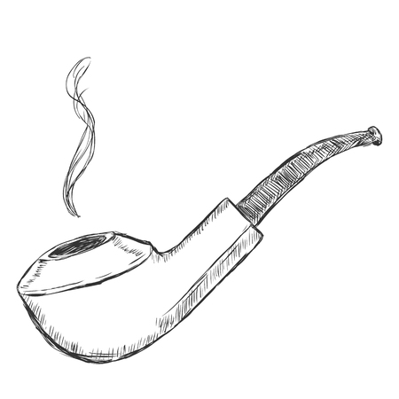 Vector Single Sketch Tobacco Pipe  - Bent Bulldog.