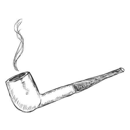 manners: Vector Single Sketch Tobacco Pipe  - Billiard.