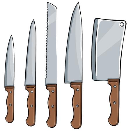 vector set of kitchen knives on White Background