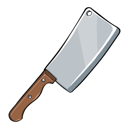 Vector Single Cartoon Kitchen Knife on White Background