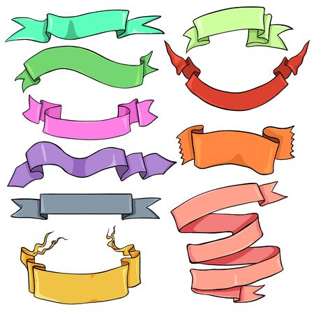 Vector Set of Color Different Ribbons for Your Text