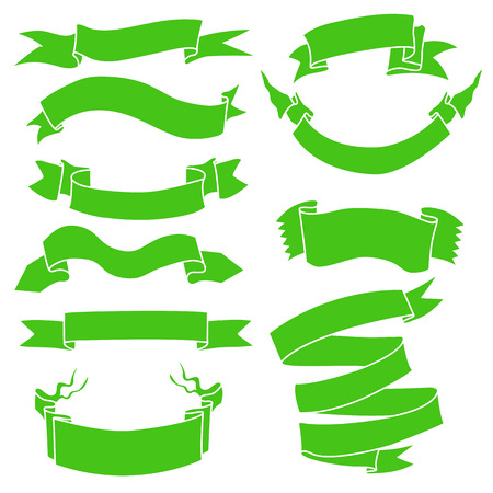 Vector Set of Green Ribbons for Your Text