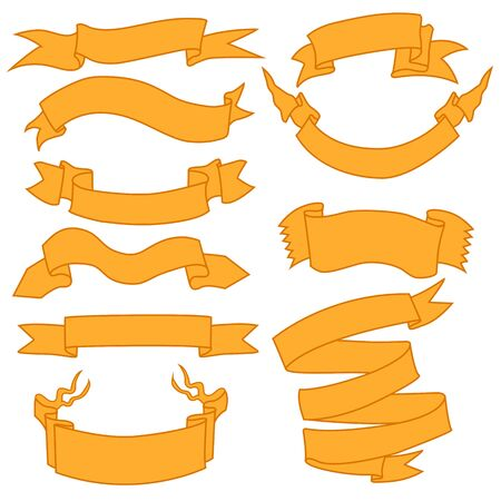 Vector Set of Orange Ribbons for Your Text