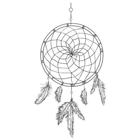 lineart: Vector Lineart Indian Mascot Dream Catcher on White Background Illustration
