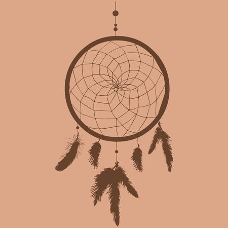 arts culture and entertainment: Vector Silhouette of Indian Mascot Dream Catcher