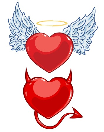 i nobody: vector cartoon evil and angels hearts on White Background Illustration