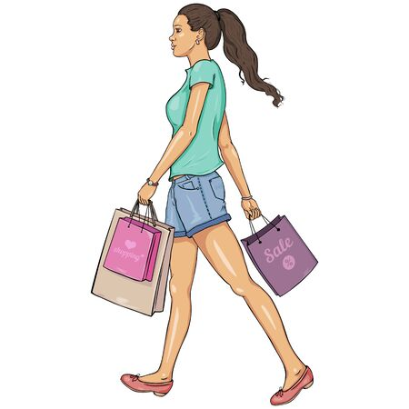 Vector Cartoon Brunette girl goes and is in the hands of shopping bags Illustration