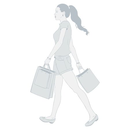 Vector Brunette girl goes and is in the hands of shopping bags