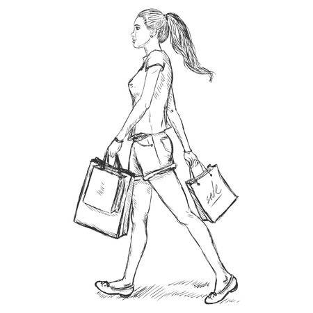 Vector Sketch Brunette girl goes and is in the hands of shopping bags