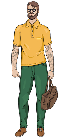 tatoos: vector cartoon character - hipster bearded man in glasses with a bag in his hand