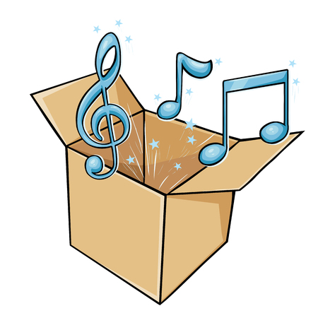 vector cartoon box with music on White Background