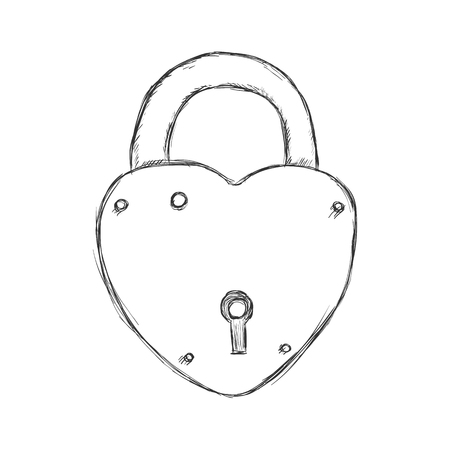 wedlock: Vector Illustration - Single Sketch Padlock on White Background