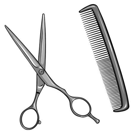 coiffeur: vector scissors and comb on White Background Illustration
