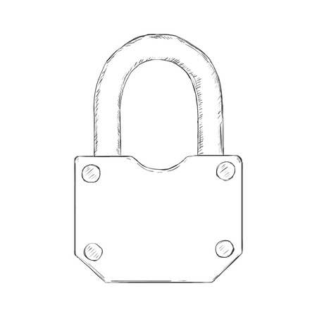 Vector Illustration - Single Sketch Padlock on White Background